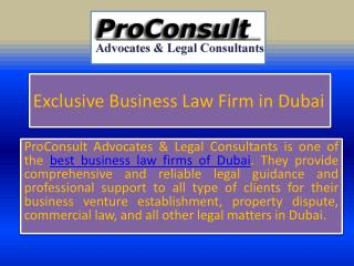 Exclusive Business Law Firm in Dubai
