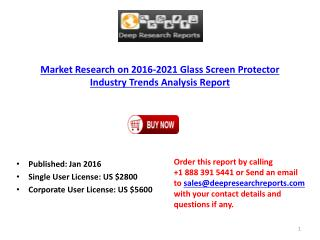 Glass Screen Protector Industry Global Growth Analysis Report 2016