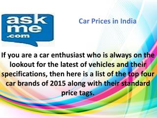 Car Prices In India