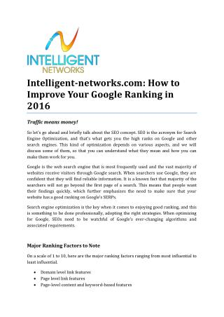 Intelligent-networks.com: How to Improve Your Google Ranking