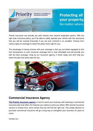 Top Commercial Insurance Provides in Greer SC