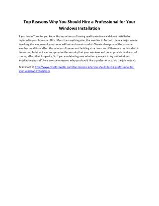 Top Reasons Why You Should Hire a Professional for Your Windows Installation