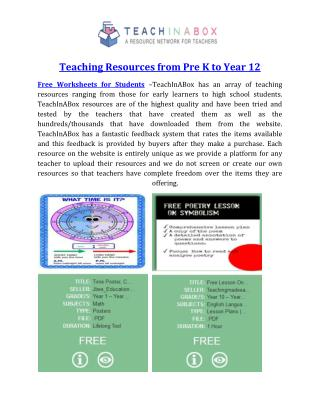 Teaching Resources from Pre K to Year 12