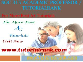 SOC 315 Academic professor - tutorialrank