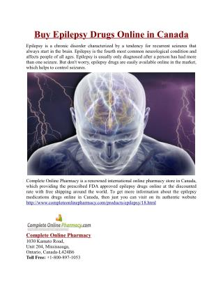 Buy Epilepsy Drugs Online in Canada