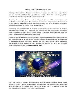 Get Personalized Astrology Reading by Best astrologer in Jaipur India