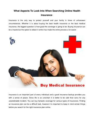 What Aspects to Look into When Searching Online Health Insurance