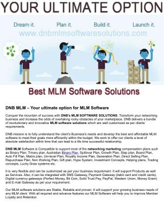 Dmlm0007 dnb mlm – your ultimate option for mlm software 2015 01 22