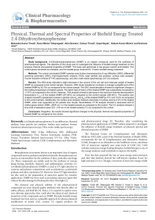 An Impact of Biofield Treatment on Dihydroxybenzophenone