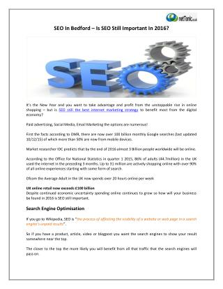 SEO In Bedford – Is SEO Still Important In 2016?