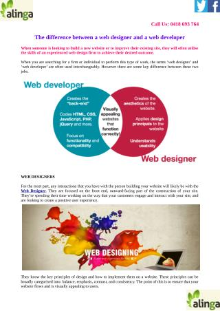 The difference between a web designer and a web developer