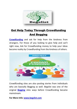 Get Help Today Through Crowdfunding And Begging