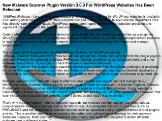 New Malware Scanner Plugin Version 3.0.0 For WordPress Websites Has Been Released