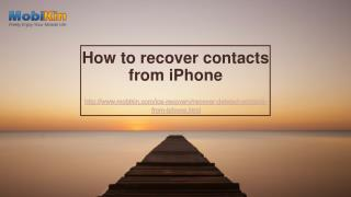How to recover contacts from iPhone