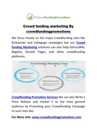 Crowd funding marketing By crowdfundingpromotions