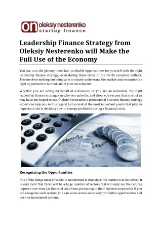 Leadership Finance Strategy from Oleksiy Nesterenko