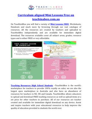 Curriculum aligned Mini Lessons Free on teachinabox.com.au