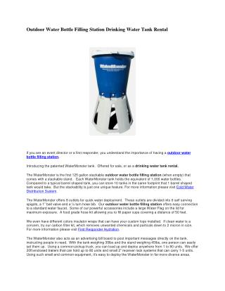 Outdoor Water Bottle Filling Station Drinking Water Tank Rental