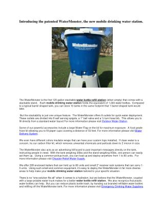 Introducing the patented WaterMonster, the new mobile drinking water station