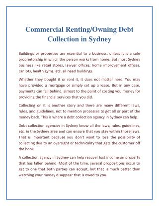 Commercial Renting/Owning Debt Collection in Sydney