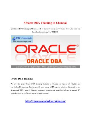 Oracle DBA Training in Chennai