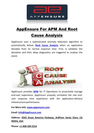 AppEnsure For APM And Root Cause Analysis