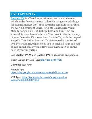 Captain TV | Captain TV Shows | Captain TV Live