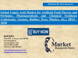 Global Capric Acid (Decanoic Acid) Market is Expected to Reach USD 302.8 Million in 2020