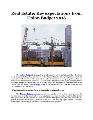 Real Estate: Key expectations from Union Budget 2016