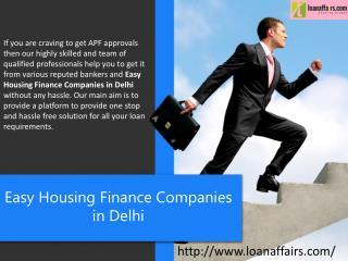 Easy Housing Finance Companies In Delhi