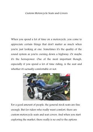 Custom motorcycle seat Covers melbourne