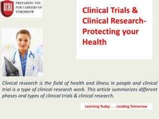 Best Clinical Trials & Clinical Research course Institute.