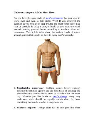 Underwear Aspects A Man Must Have