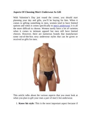 Aspects Of Choosing Men's Underwear As Gift