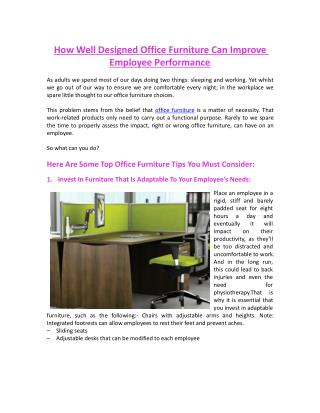 How Well Designed Office Furniture Can Improve Employee Performance