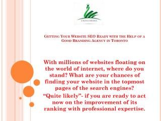 Getting Your Website SEO Ready with the Help of a Good Branding Agency in Toronto