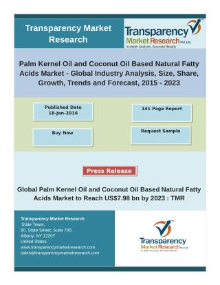 Palm Kernel Oil and Coconut Oil Based Natural Fatty Acids Market - Global Industry Analysis, 2015 – 2023