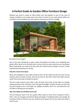 A Perfect Guide to Garden Office Furniture Design