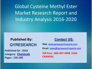 Global Cysteine Methyl Ester Market 2016 Industry  Shares, Outlook, Research,  Development and Forecasts