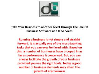 Take Your Business to another Level Through The Use Of Business Software and IT Services
