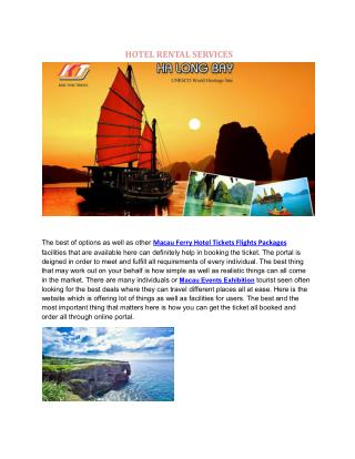 Macau Ferry Hotel Tickets Flights Packages 澳門長車旅遊巴士車導遊租賃