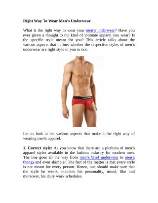 Right Way To Wear Men's Underwear