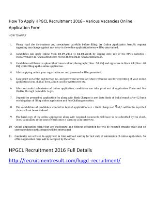 How to Apply HPGCL Recruitment 2016 - Various Vacancies Online Application Form