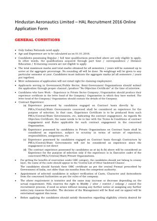 Hindustan Aeronautics Limited – HAL Recruitment 2016 Online Application Form