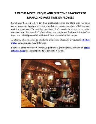 4 Of the Most Unique and Effective Practices To Managing Part Time Employees