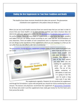 Finding the Best Supplements for Your Bone Conditions and Health