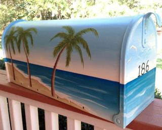 Hand Painted Mailbox, Nautical Tropical Beach Palms