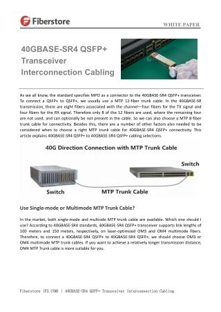40GBASE-SR4 QSFP  Transceiver Interconnection Cabling