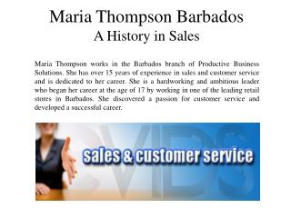 Maria Thompson Barbados  A History in Sales