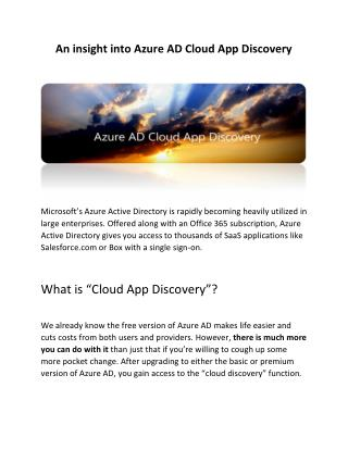 An insight into Azure AD Cloud App Discovery